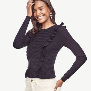 Ann Taylor Ruffle Sweater Silk Blend Black Sz L